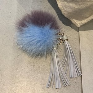 FOX FUR KEYRING - skyblue towtonel /30%Sale/